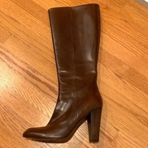 Cole Haan Brown Leather Heel Boots PERFECT 8 /12